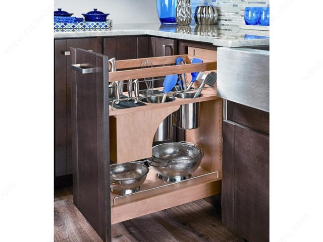 Pull-Out Knife Block with Storage Bins and Shelving